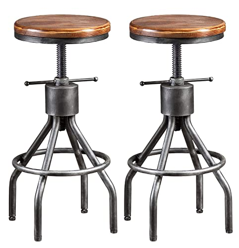 LOKKHAN Vintage Industrial Bar Stool-Height Adjustable Round Wood and Metal Swivel Bar Stool-Cast Iron Pub Height Stool,Assembly Not Required,23.4-33 inch Set of 2