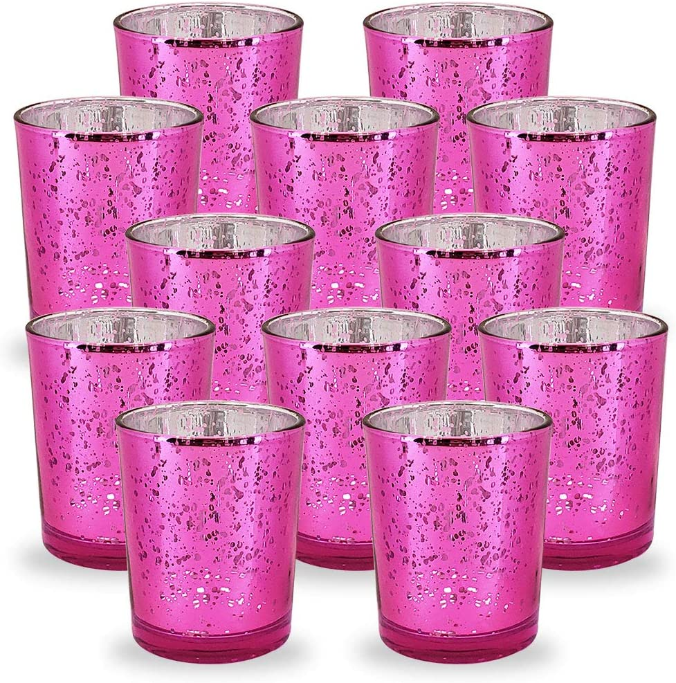 Just Artifacts Mercury Glass Votive Candle Holder 2.75-Inch (12pcs, Speckled Fuchsia) -Mercury Glass Votive Tealight Candle Holders for Weddings, Parties and Home Décor