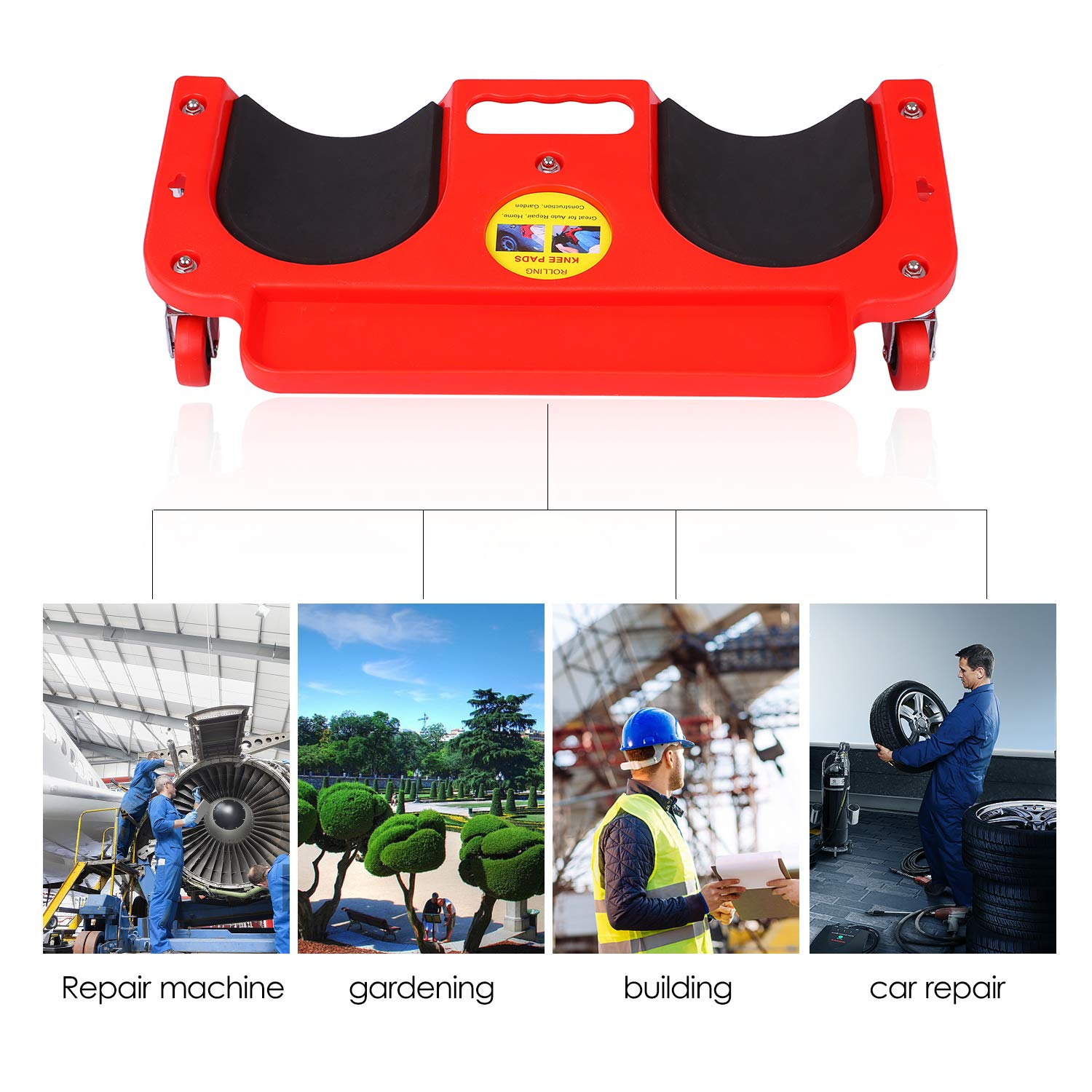 Flooring Knee Silicone Pads with 5 Wheels Rolling Knee Creeper Rolling Knee Pads with Tool Tray and Holder