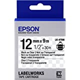 "Epson LabelWorks Clear LK (Replaces LC) Tape Cartridge ~1/2"" Black on Clear (LK-4TBN) - For use with LabelWorks LW-300, LW-400, LW-600P and LW-700 label printers"