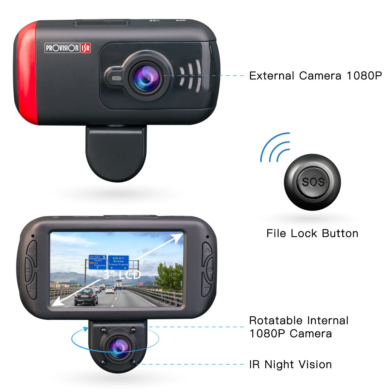 Provision-ISR Dual Dash Cam, Rotatable Inner Camera, Night Vision, Wireless SOS Button Included, Supports 64GB Memory Cards, Full HD 1080p, for Rideshare Drivers, Parking Guard, G Sensor