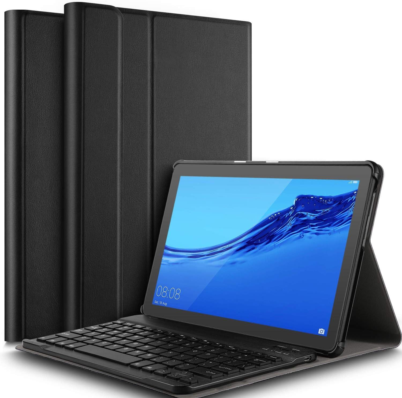 IVSO Funda con Teclado Español Ñ para Huawei MediaPad T5 10, Slim Stand Funda con Removible Wireless Teclado con Ñ, Negro