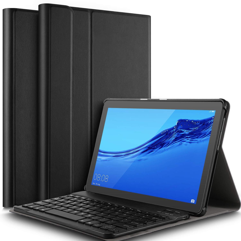 IVSO Keyboard Case for Huawei MediaPad T5 10 [QWERTY], Slim PU Case with  Detachable Wireless Keyboard for Huawei Mediapad T5 10 10 1 inch 2018, Black
