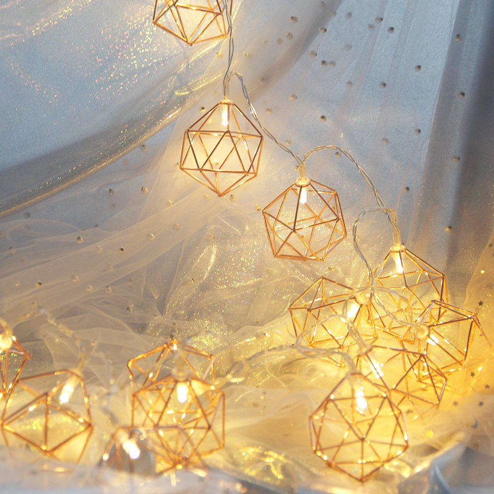 Decorative String Lights, Rhombus Hexagon Gold Metal Pineapple LED String Lights 20 LED Battery Powered For Home Bedroom Wedding Patio Party Festival Outdoor Indoor Decoration (3M/9.8FT/Warm White)