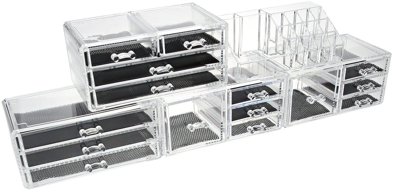 Unique Home 5 Piece Set Acrylic Jewelry & Cosmetic Storage Makeup Organizer (XX-Large, Clear)
