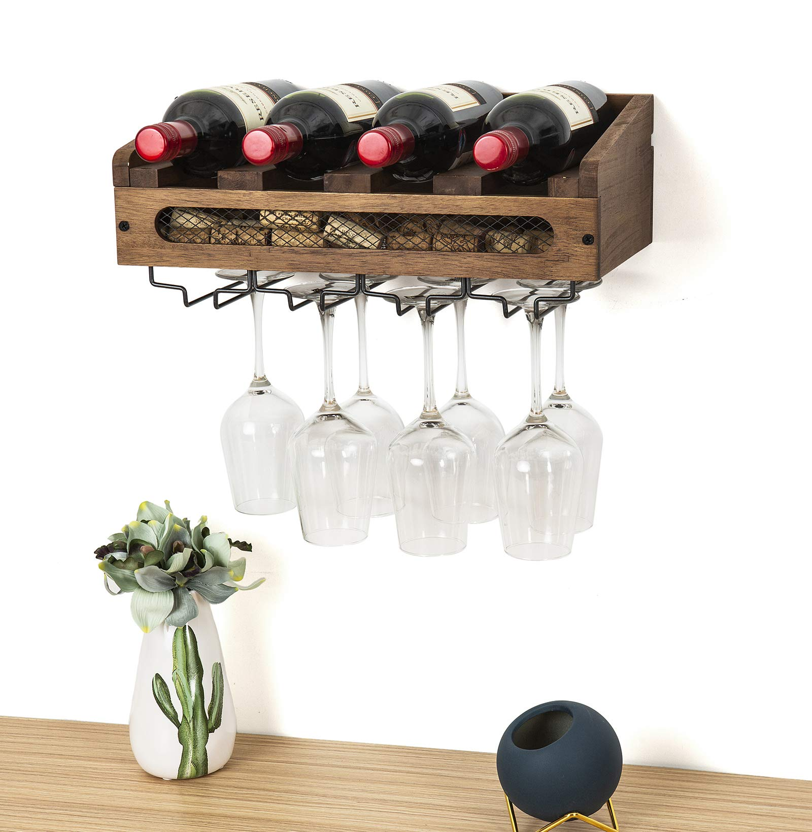 SODUKU Wall Mounted Wooden Wine Rack 4 Wine Bottles and 4 Long Stem Glasses Holder Wine Cork Storage Rack by SODUKU