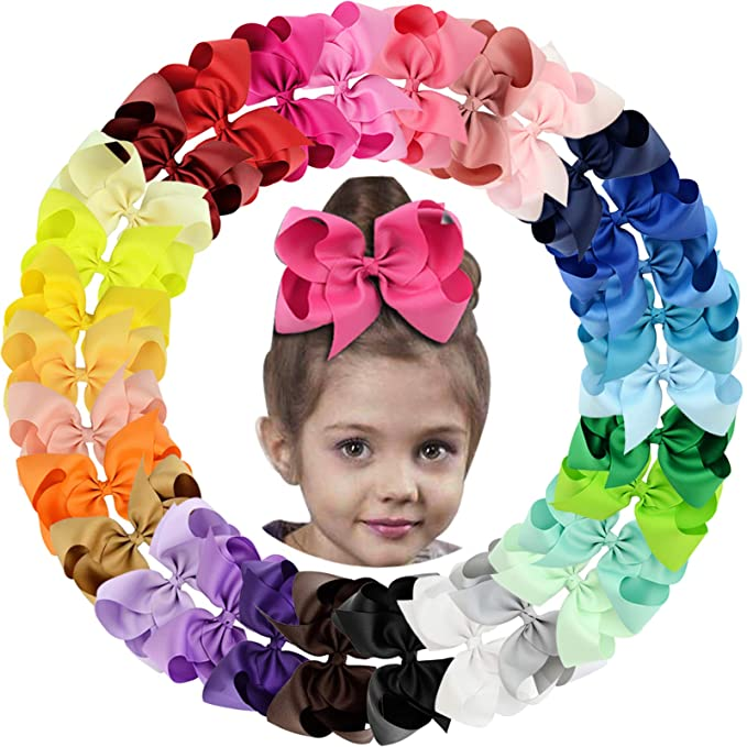 250 Mixed Color Snap Hair Clips with glue pad 46mm Baby Bows Girls Hair Bows