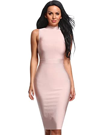 f18f475630cb8 Hego Women's Turtleneck Sleeveless Midi Bandage Bodycon Party Dresses H1302  (S, Apricotpink)