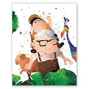 Up Poster – Carl and Russell – Kids Room Wall Art Print – Nursery Home Decor – Up Movie House Watercolor Illustration – Party Decoration (8x10)