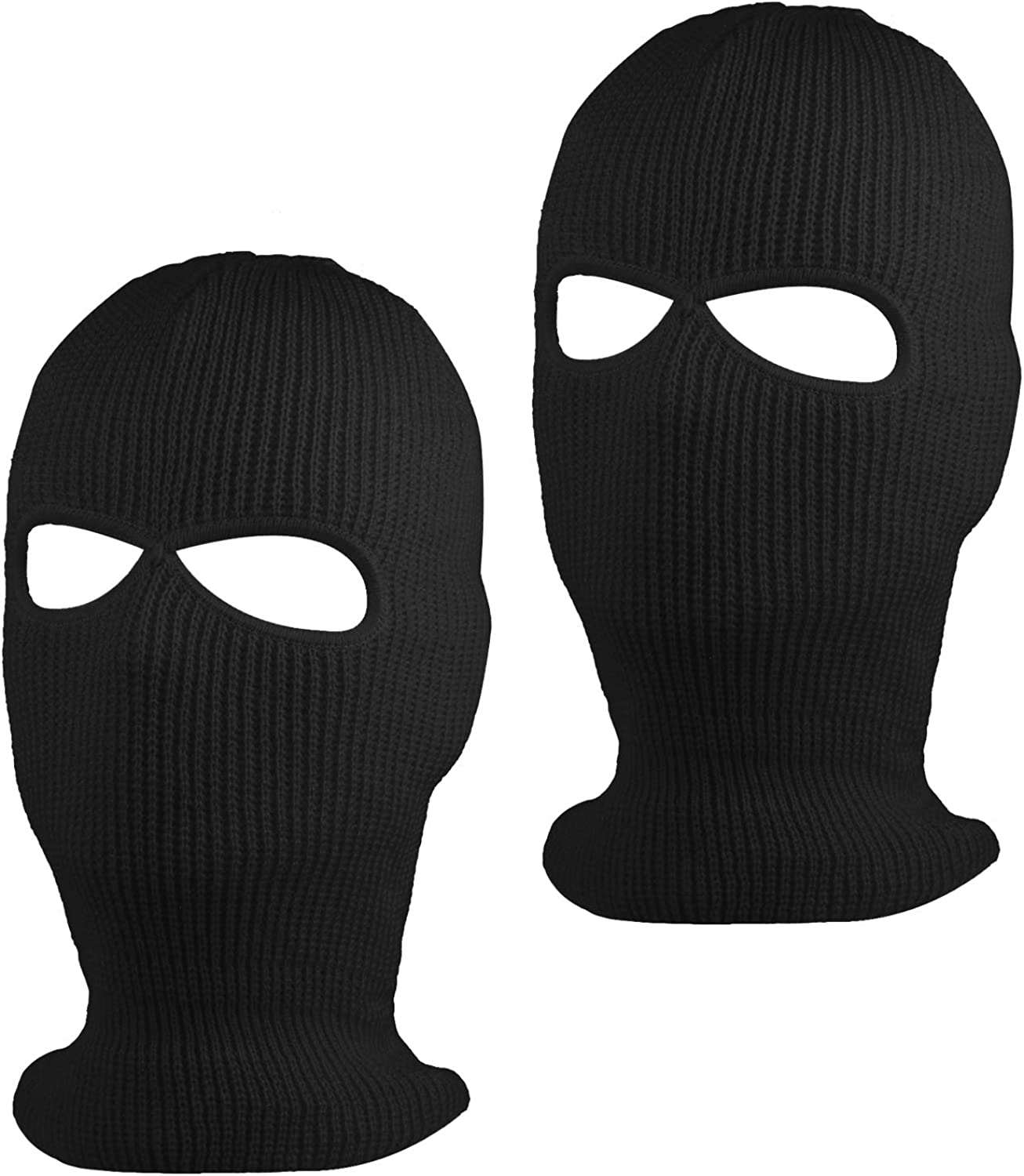 Suntrade 2 Hole Knitted Full Face Cover Ski Mask Winter Balaclava Beanie For Outdoor Sport Set Of 2 Blackx2 At Amazon Men S Clothing Store