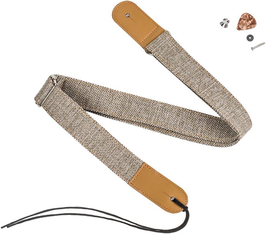 Zealux Correa de ukelele de cuero cómodo en lino y algodón y ajustable correa de hombro apto para todos los ukeleles y guitarras pequeñas.