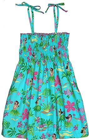 9691afb4b4 Amazon.com  RJC Girl s Hula Girl Fun Hawaiian Smocked Dress  Clothing