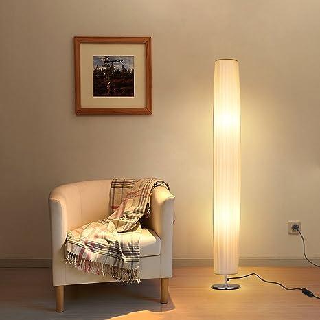 Albrillo E27 Lámpara de Pie Moderna con Tela Blanca de Tubo ...
