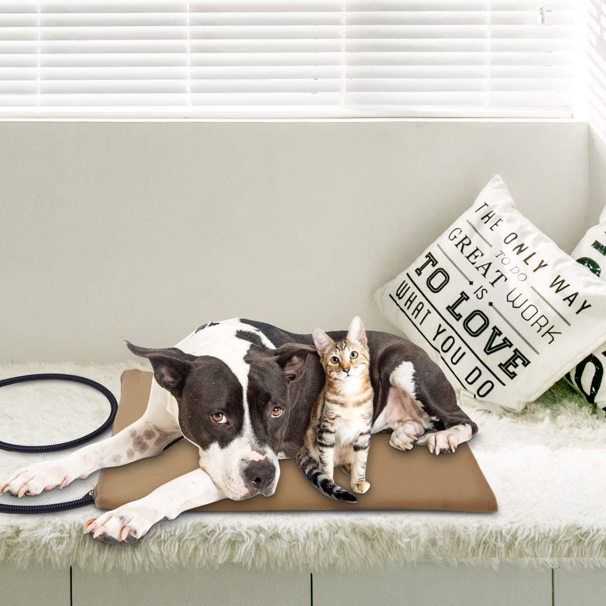 30W Almohadilla de Calentamiento para Mascotas con 7 Niveles de Temperatura Ajustable Osaloe Manta de Calefacci/ón El/éctrica para Perros y Gatos Caqui 65 x 40 CM