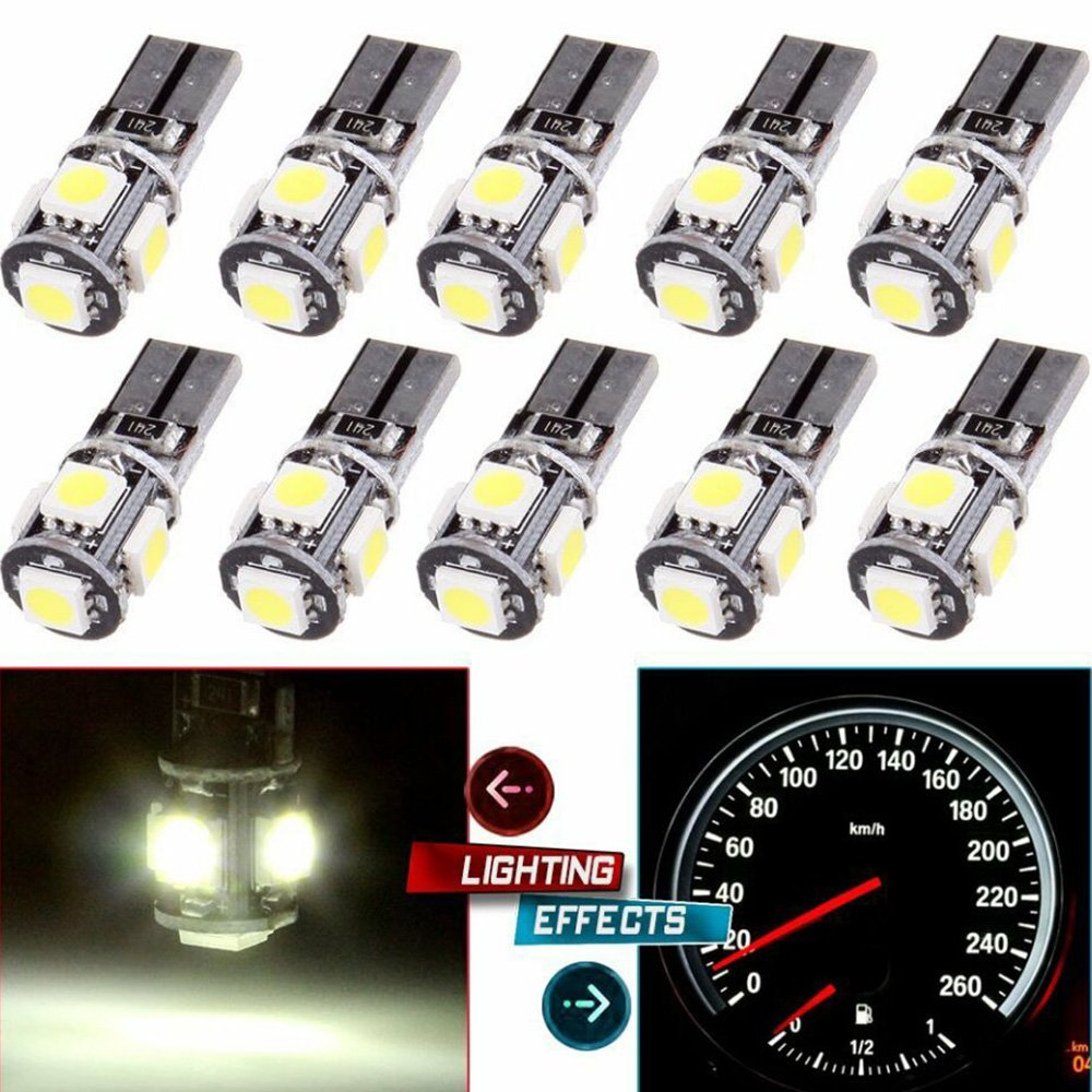 color blanco 10pcs T10/ LED bombillas de coche l/ámpara W5/ W 5/ SMD modoca 5050/ Wedge interior de coche Bulbs para trasera luces freno Turn L/ámparas placas de matr/ícula luces 12/ V