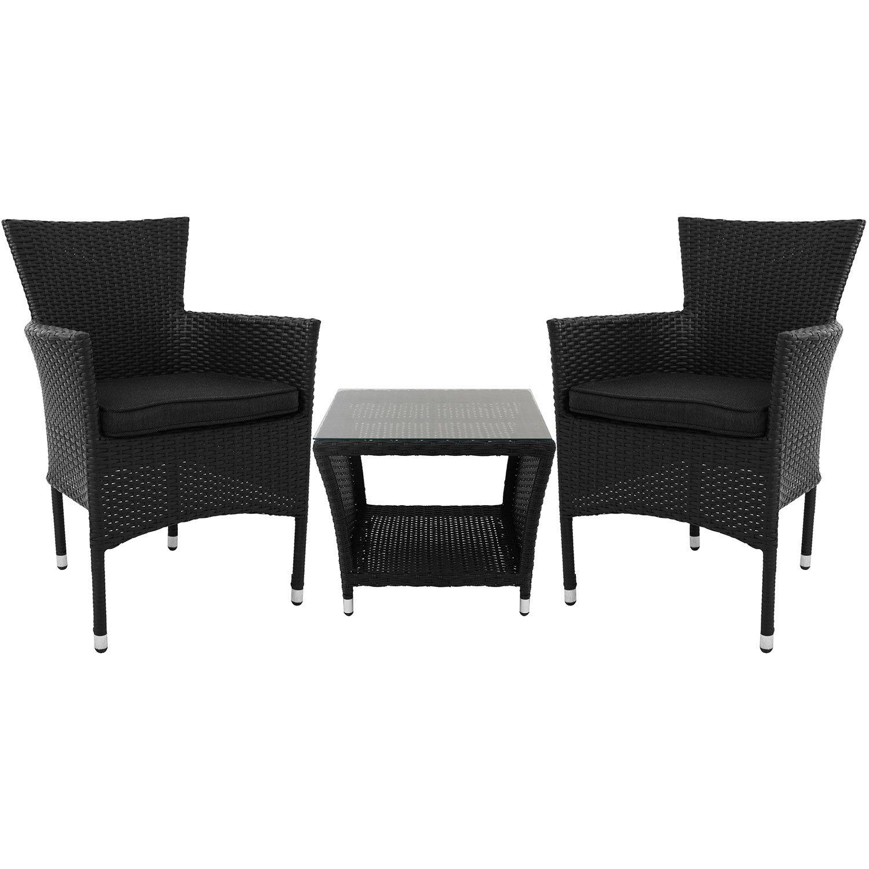3tlg sitzgruppe polyrattan beistelltisch mit tischglasplatte und ablagefl che 50x50cm 2x. Black Bedroom Furniture Sets. Home Design Ideas