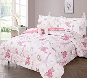 GorgeousHomeLinen Kids 6pc White Pink Paris #2 Floral Eiffel Tower Oh LALA Puppy Twin Bed in Bag Comforter with Matching Sheet Set with Pillow Friend for Girls