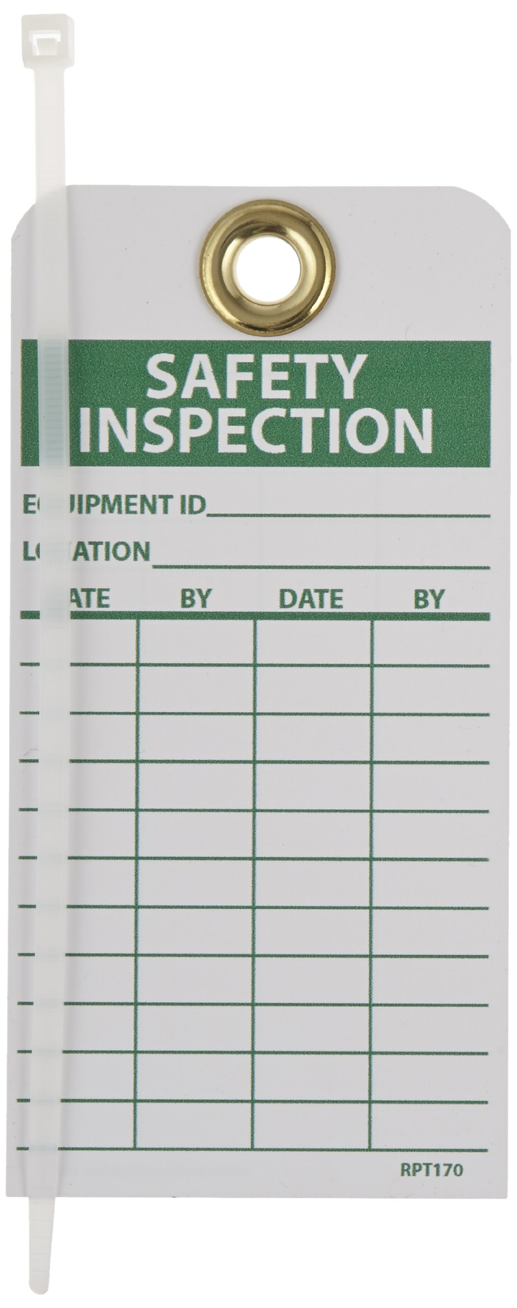 NMC RPT170G''SAFETY INSPECTION'' Accident Prevention Tag with Brass Grommet, Unrippable Vinyl, 3'' Length, 6'' Height, Green on White (Pack of 25)