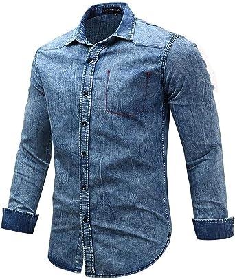 Camisa De Mezclilla Hombre De Manga Larga con Botones Denim Lavado Abajo Trabajo Informal Especial Estilo Vintage Camisas De Corte Slim Camisas De Blusa Otoño: Amazon.es: Ropa y accesorios