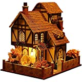 Architecture Model Building Kits with Furniture LED Music Box Miniature Wooden Dollhouse Flower Town Series 3D Puzzle…