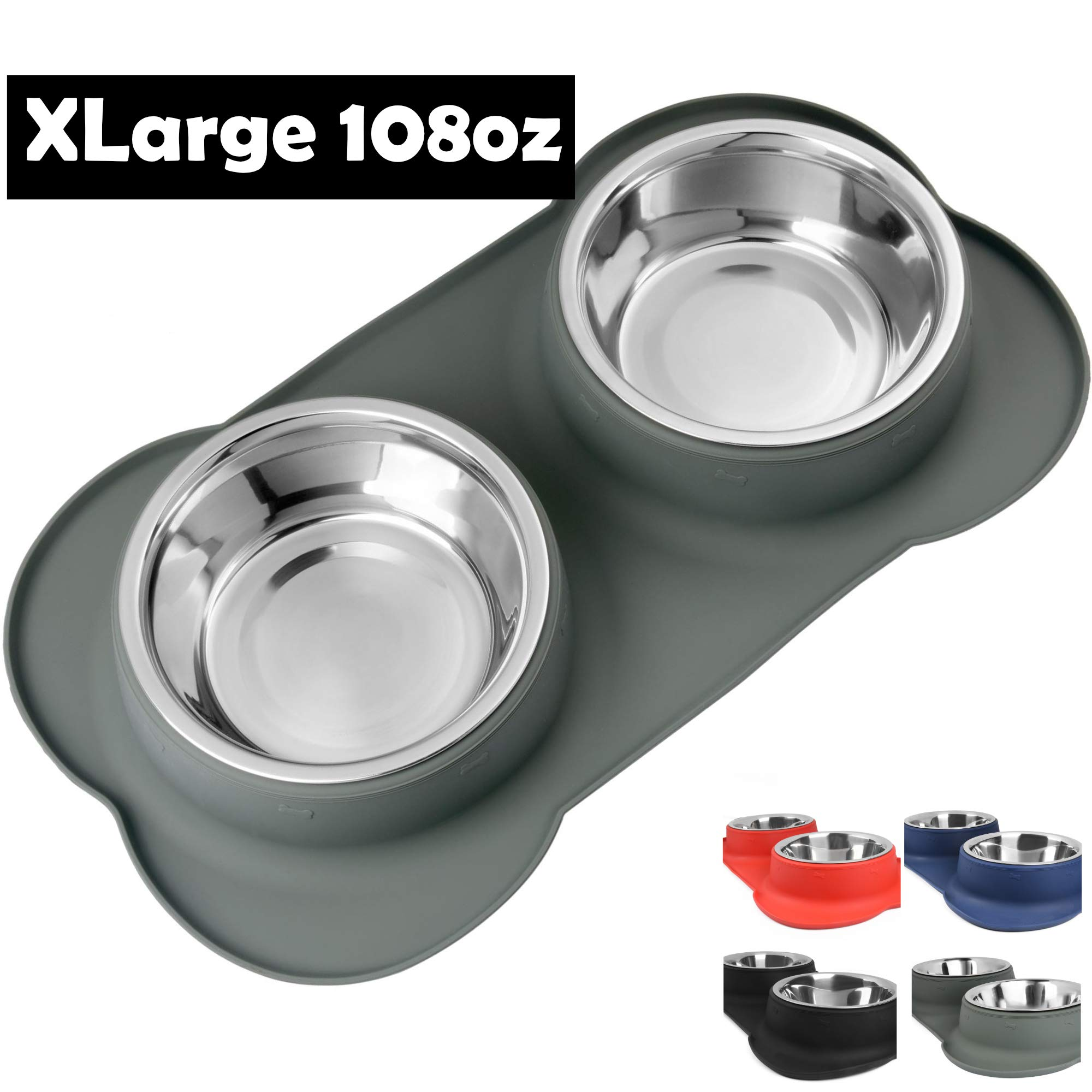 Large Dog Bowls & Mat Set - Two Big 54oz (108oz Total) Removable Stainless Steel Bowl Set in a Stylish Grey No Mess, No Spill, Non Skid, Silicone Mat. Food & Water Bowls for Medium to Large Dog Grey by Snappies Petcare