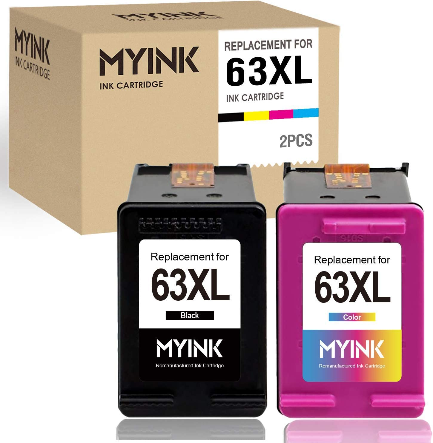 MYINK Remanufactured Ink Cartridge Replacement for HP 63 XL 63XL 1 Black 1 Color, 2 Pack Fit Printer 4520 5255 3830 5258 4650 1112 4655 3630 3631 4652 4512 3632