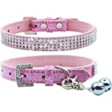 PUPTECK Basic Adjustable Dog Cat Collar Bling Diamante with Bells