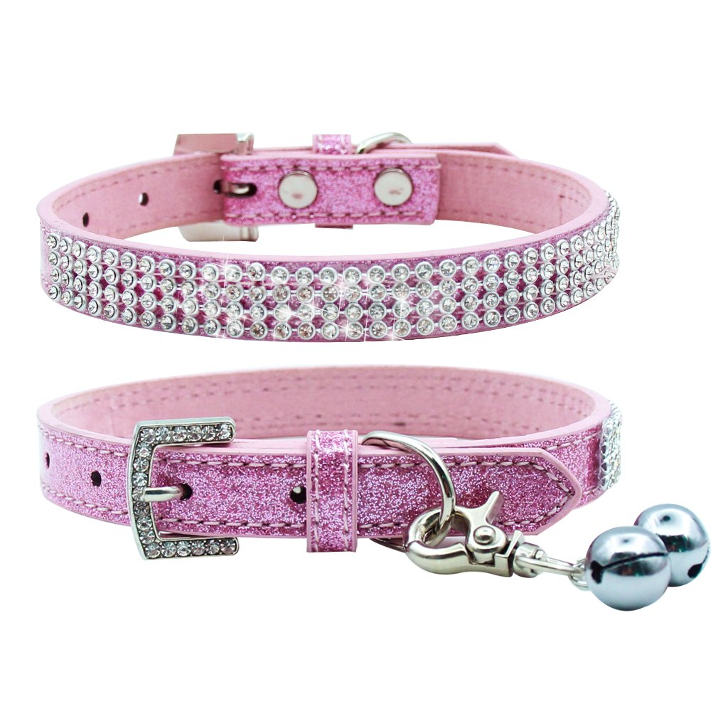 Basic Adjustable Dog Cat Collar Bling Diamante with Bells