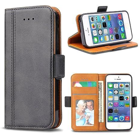 Bozon iPhone 5S Hülle, iPhone SE Hülle, iPhone 5 Hülle, Leder Tasche Handyhülle Flip Wallet Schutzhülle für iPhone 5/ SE/ 5S