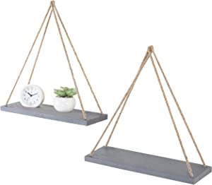 MyGift 17-Inch Slate-Gray Color Wood Hanging Swing Rope Shelves, Set of 2