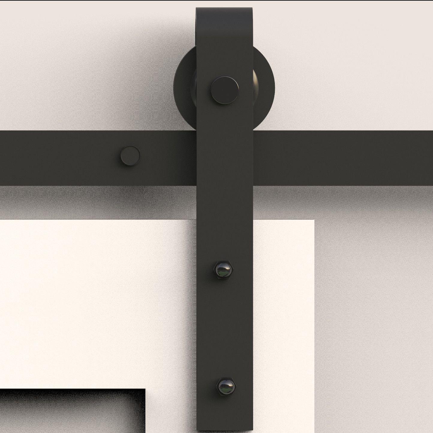 Fullhouse Rustic Black Single Sliding Barn Door Hardware Kit,7FT Track Bending Design - Industrial Strength Hangers, for Garage, Closet, Interior and Exterior Door Use Quiet and Smooth Sliding