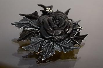 Pince A Cheveux Et Broche Fleur Noire En Cuir Naturel Rose Amazon