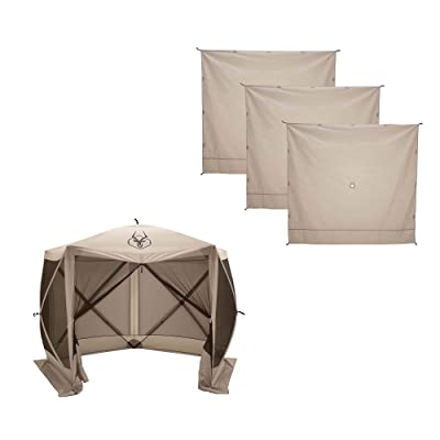 Gazelle G5 4 Person 5 Sided 115 x 106 Portable Canopy Gazebo Tent + Wind Panels: Sports & Outdoors
