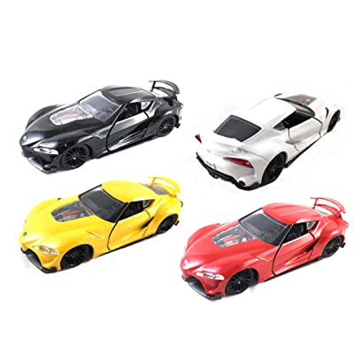 HCK Set of 4 Toyota FT-1 Supra Concept Pull Back Toy Cars 1:32 Scale (Black/Yellow/White/Red): Toys & Games