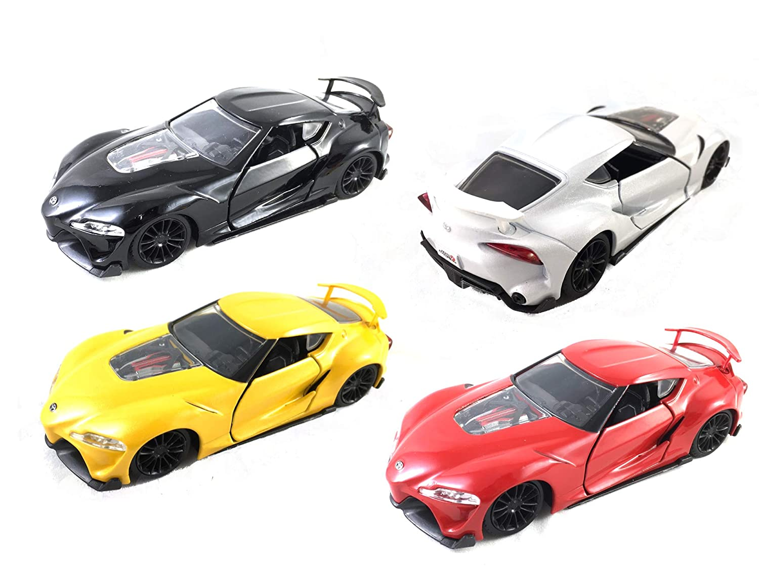 HCK Set of 4 Toyota FT-1 Supra Concept Pull Back Toy Cars 1:32 Scale Black//Yellow//White//Red
