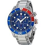 Seiko - SSC019P1 - Solar Diver's - Montre Homme - Automatique Chronographe - Cadran Bleu - Bracelet Acier Gris