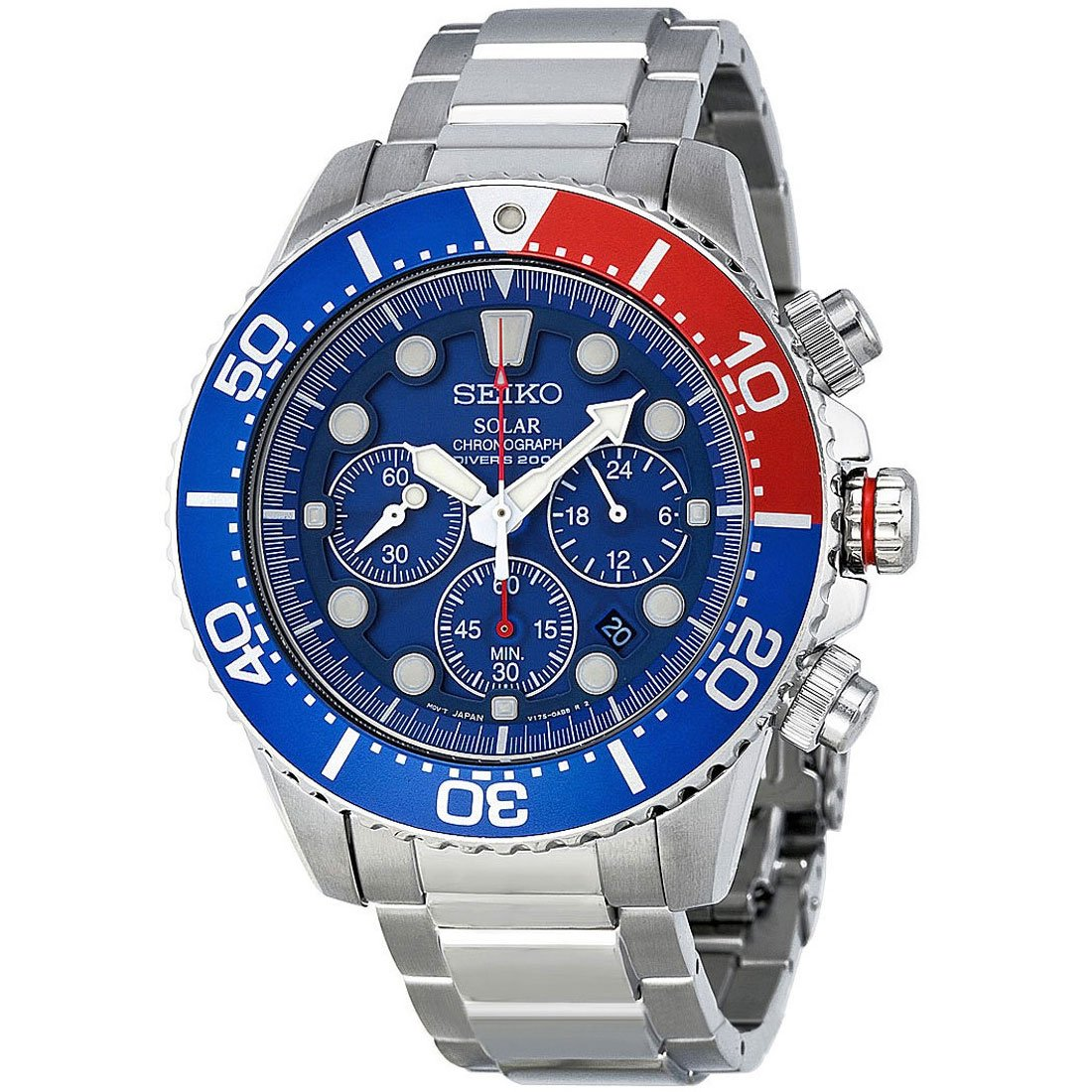 Amazon.com  Seiko Men s SSC019 Solar Diver Chronograph Watch  Seiko  Watches 3061851a8c