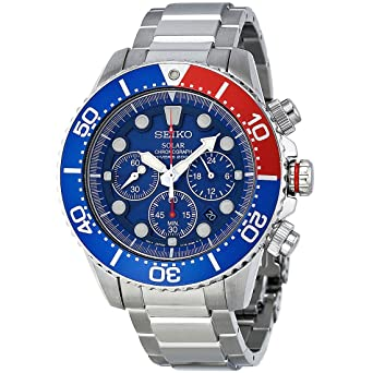 e3b4b80e3 Image Unavailable. Image not available for. Color: Seiko Men's SSC019 Solar  Diver Chronograph Watch