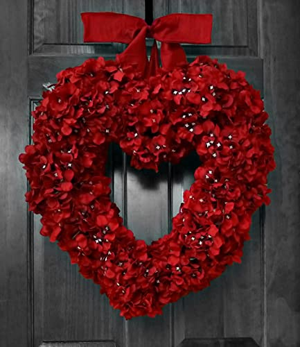 Amazon Com Valentine S Day Wreath Red Hydrangea Heart Shape Handmade