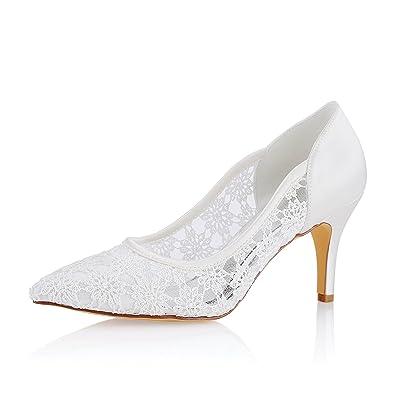 Emily Bridal Lace Wedding Shoes Ivory Pointed Toe Slip On Bridal Shoes  Wedding Guest Shoes (