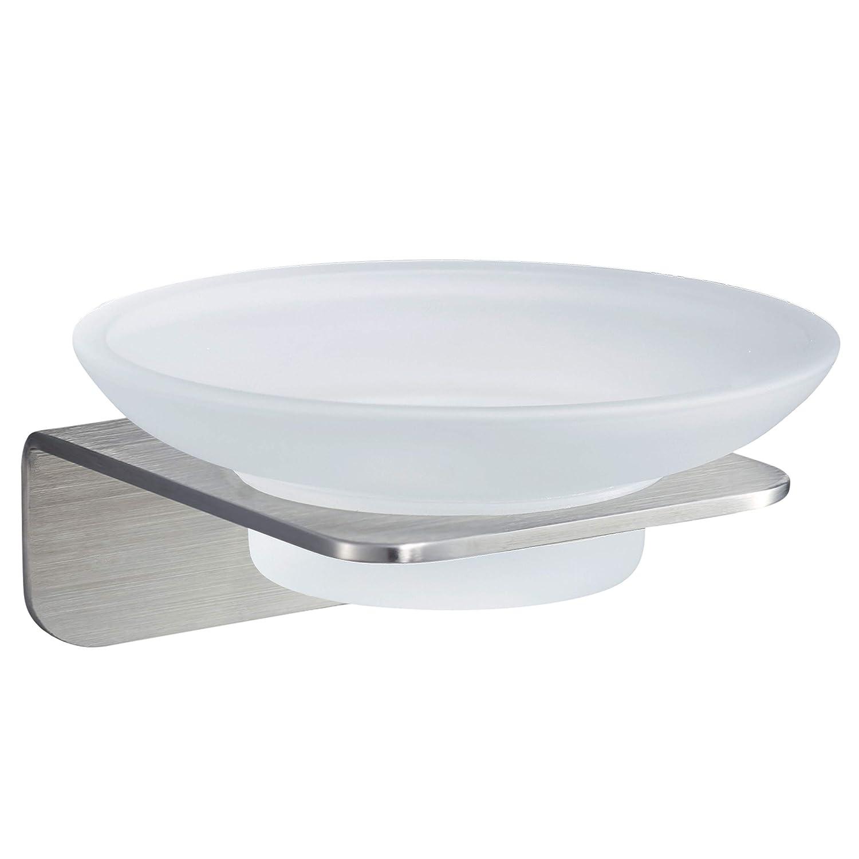 WEISSENSTEIN Jabonera de baño Pared Adhesiva | Soporte para jabón de Vidrio y Acero Inoxidable | Jabonera Redonda 11 x 11 x 11 cm: Amazon.es: Hogar