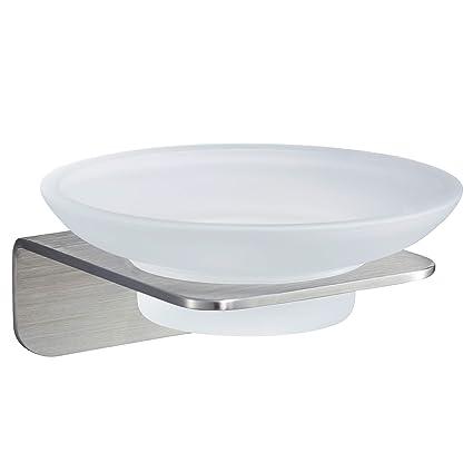 WEISSENSTEIN Jabonera de baño Pared Adhesiva   Soporte para jabón de Vidrio y Acero Inoxidable  