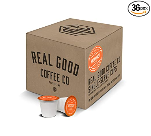 Real Good Coffee Co Recyclable K Cups, Breakfast Blend Light Roast, For Keurig K-Cup Brewers, 36 Single Serve Coffee Pods