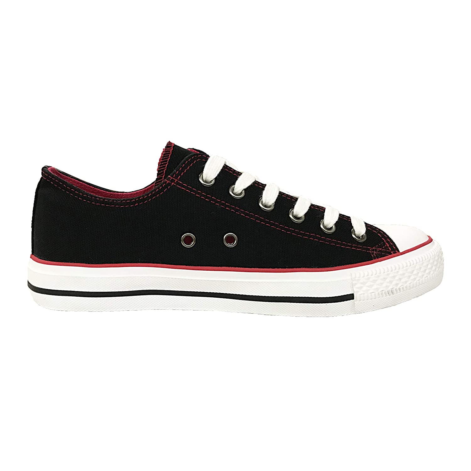 Canvas Classic - Black & Red Lantina Women's Low Top Fashion Sneakers