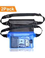 arteesol Waterproof Pouch Bag Case with Adjustable Waist Strap for Beach Swim Boating Kayaking Hiking- Protect Phone Camera Cash Passport Document From Water Sand Dust and Dirt [2 PACK]