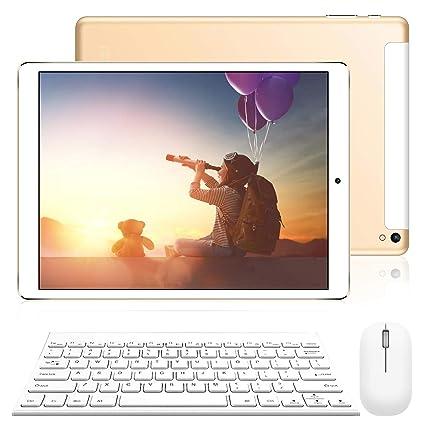 Tablet 10 Pulgadas 2 en 1 Tablet PC 4G/WiFi, 3GB RAM+32GB ROM/128GB Android 8.1(teclado y mouse etc 9pcs Accesorios) 8500mAh Quad-Core Dual SIM ...