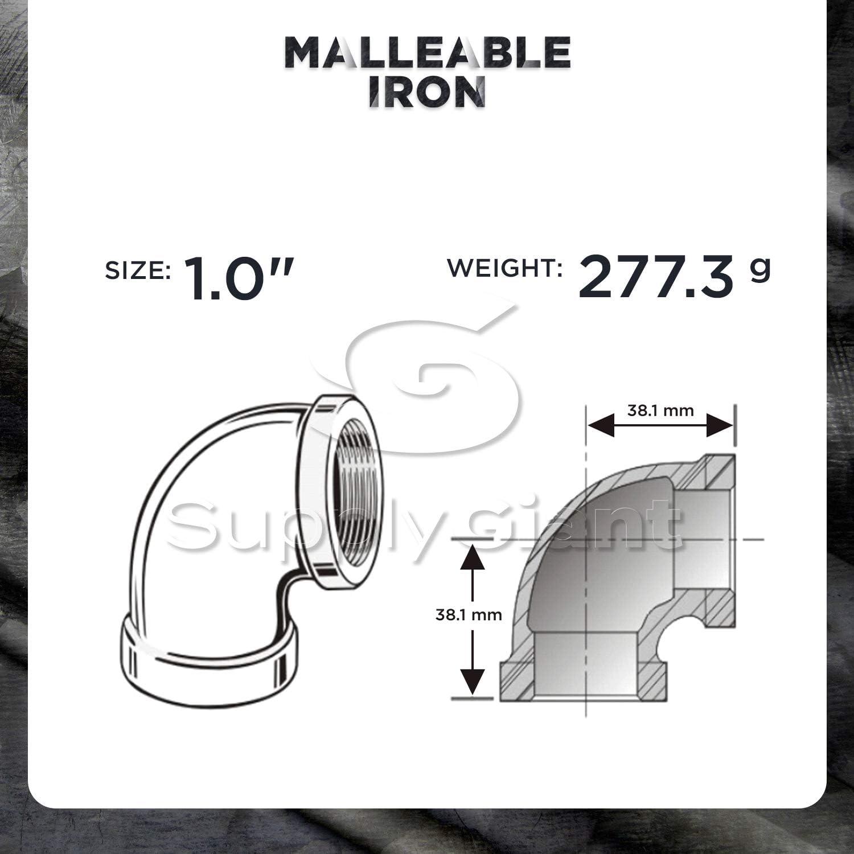 SUPPLY GIANT BMNL0018-40 90 degree elbow Black 1//8