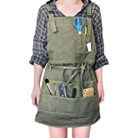 Artist Canvas Apron with Pockets for Women/Men/Unisex Adult Painting Aprons Gardening Slight Waterproof Painting Apron…