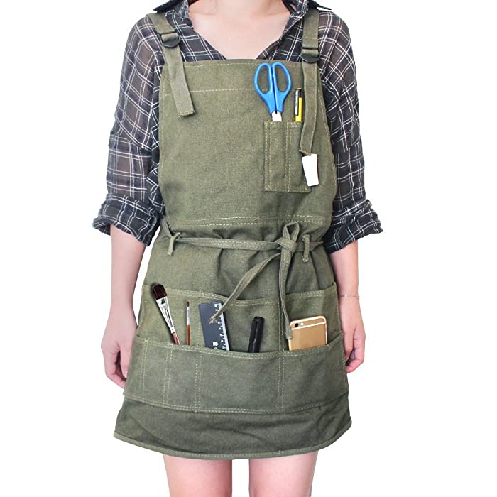 Tour Artist Canvas Apron with Pockets for Women/Men/Unisex, Adult Painting Aprons Gardening Slight Waterproof Painting Apron for Painters School Students, Utility or Work Apron