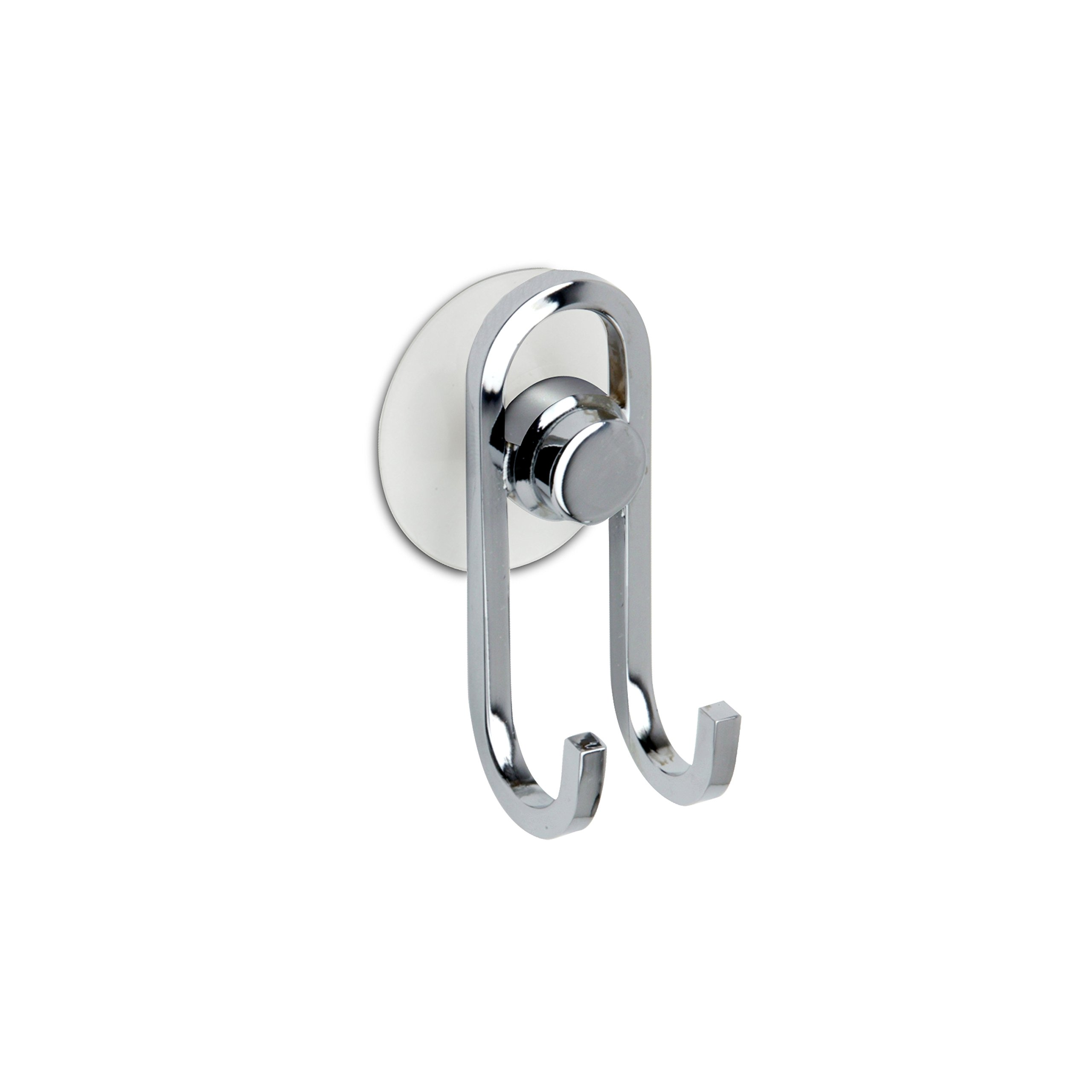 W-Luxury Brass Double Towel Robe Hook/Hanger Suction Cup for Bath and Squeegee Holder (Polished Chrome)